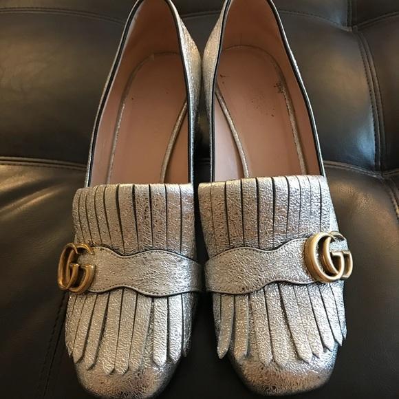 808f2d3db Gucci Shoes | Marmont Metallic Silver Midheel Pump | Poshmark